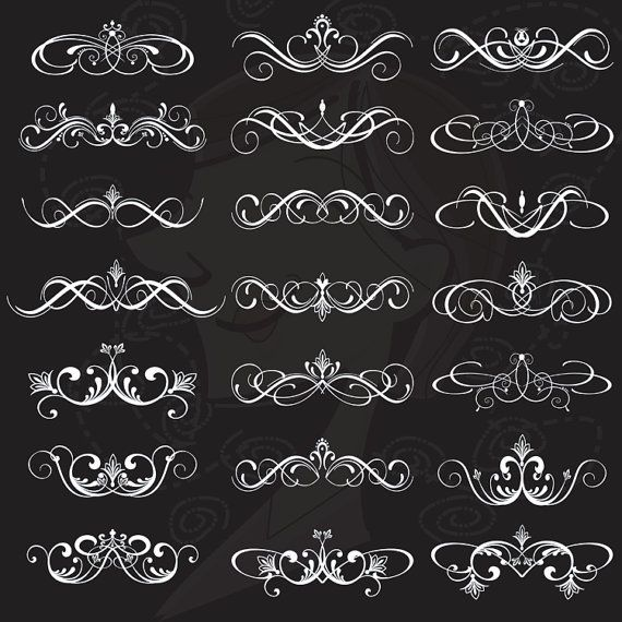 Digital Flourish Clipart Clip Art Swirls Vintage Wedding Digital Scrapbooking Supplies Decorative Classic Border Calligraphy 10303. $5.90, via Etsy.