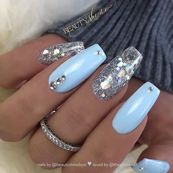 Baby Blue With Glitter And Crystals On Coffin Nails Nail Artis Blue Glitter Nails Blue Acrylic Nails Acrylic Nails Coffin Glitter