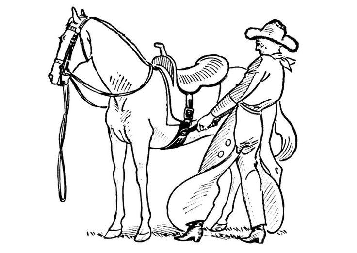 Coloring Page Cowboy Saddles Horse