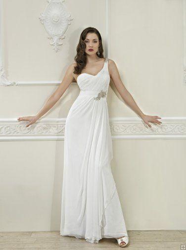 Simple Sheath/Column One Shoulder Crystal Detailing Sweep/Brush Train Chiffon Wedding Dresses