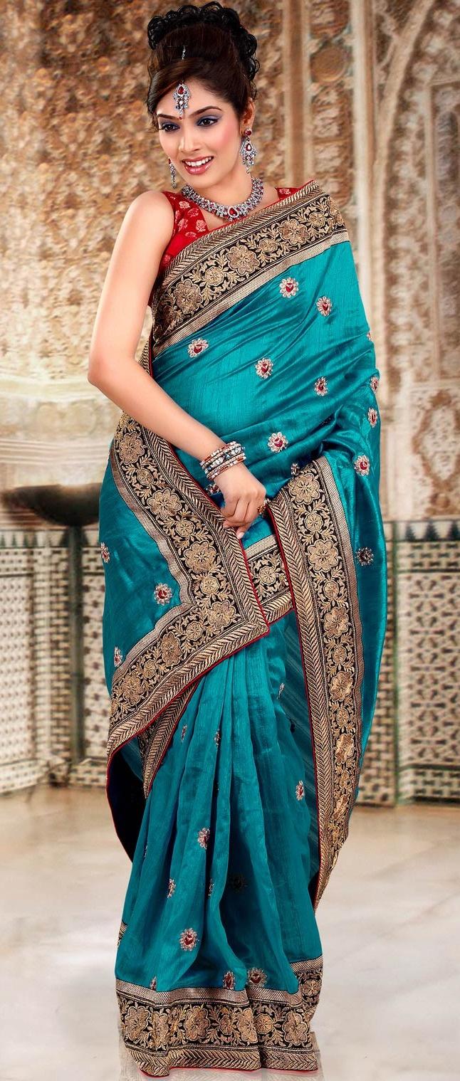 Blue Jute #Silk #Saree with Blouse @ $79.95   Shop @ http://www.utsavfashion.com/store/sarees-large.aspx?icode=sga1959b