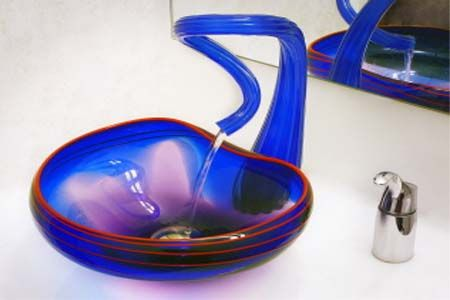 this blown glass sink is beautiful