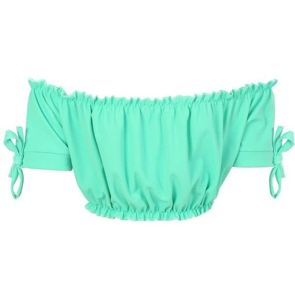 Pilot Ruched Bardot Gypsy Crop Top (413.000 VND) ❤ liked on Polyvore featuring tops, aqua green, green crop top, ruching tops, gypsy top, long-sleeve crop tops and ruched sleeve top