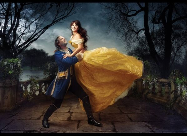 Beauty and the Beast - Penelope Cruz poses as a happy Belle, with Jeff Bridges as her transformed prince <3