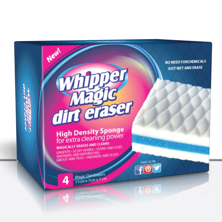 Got dirt ? Erase it with Whipper Magic Dirt Eraser made of a melamine sponge , and all you need is water . Then wipe and disinfect with Whipper wet wipes .