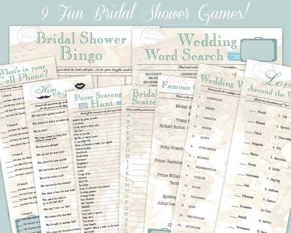 9 Vintage Travel Theme Downloadable Bridal Shower Game Ultra Collection Printables