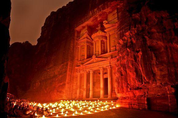 Petra by Night. The Treasury, Al Khazneh