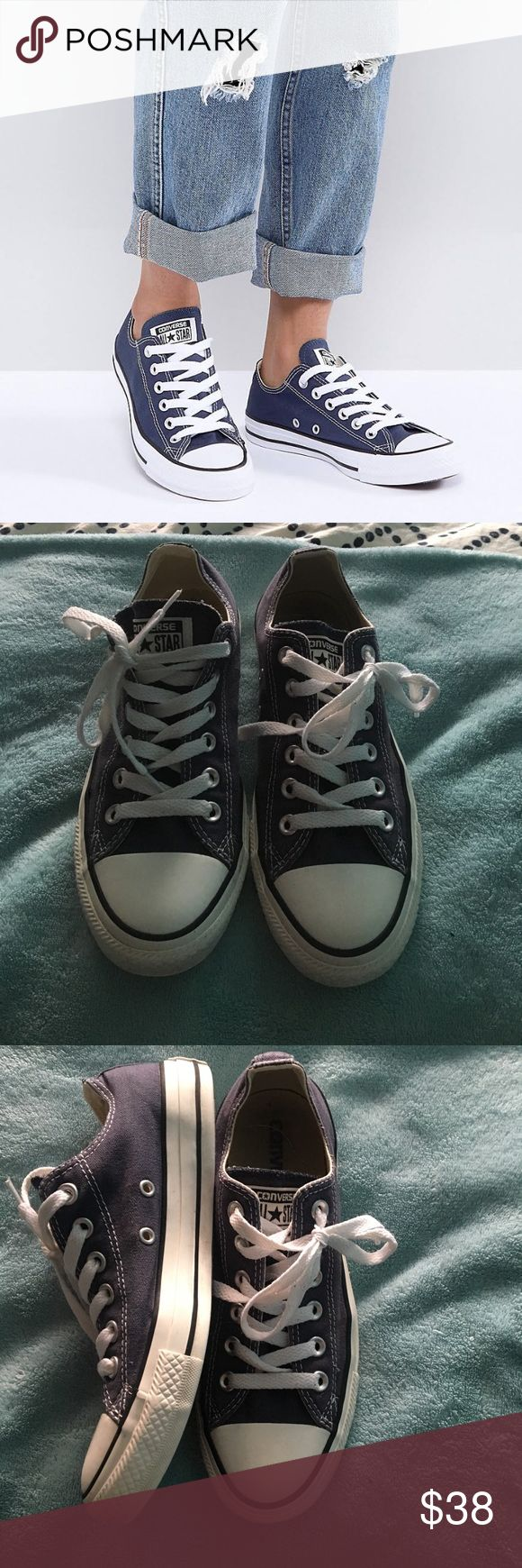 Navy Converse All Star Low Top Excellent condition all star low tops! Super cute and fit Women's Size 8, Men's Size 6. Goes great with every outfit! Converse Shoes Sneakers