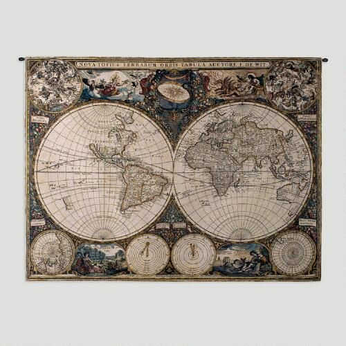 One of my favorite discoveries at WorldMarket.com: Old World Map Wall Tapestry