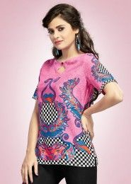 Party Wear Pink Cotton Printed Kurti