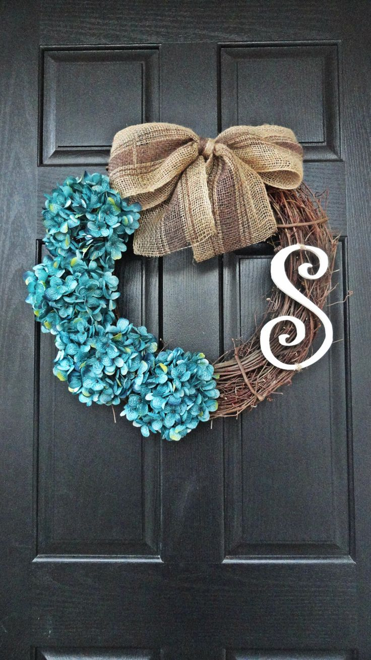 Nautical Hydrangea Wreath, Blue Hydrangeas, Striped Burlap Bow, Large White Wooden Monogram. $47.00, via Etsy... I could make this