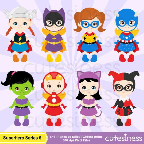 Super Hero Series 6 Digital Clipart : 10 Graphics    ----------------------- ★★ Package Included ★★-----------------------------------    *You will