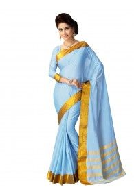Shonaya SkyBlue Color Woven Handloom Cotton Silk Saree With Unstitched Blouse Piece