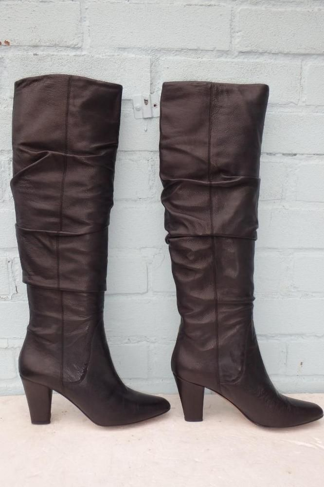 ~ HOBBS LEATHER BOOTS ~ Ladies Size 4 37 ~ SEXY PULL ON ALL BLACK LEATHER BOOTS