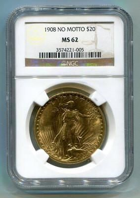 MS62 1908 No Motto Certified 20 Dollar Antique Gold Coins Saint-Gaudens Double Eagles