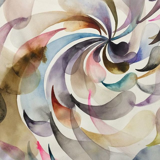Lordes Sanchez - swirling vortex in tones of girly and mist #lourdessanchez #contemporarypainting #geometricabstraction