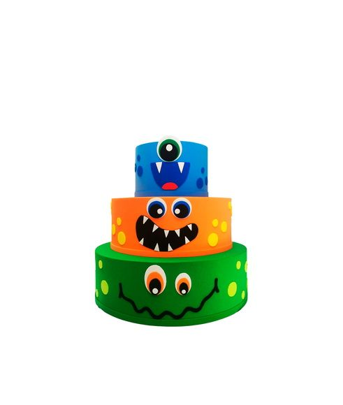 Bolo Cenográfico(Falso/Fake) em EVA Monstrinhos Composição: Papel Paraná e EVA Dimensões (Altura) Topo: 11cm 2º Andar: 10cm 1º Andar: 10cm Dimensões (Diâmetro) Topo: 16cm 2º Andar: 26cm 1º Andar: 33cm OBS: - O bolo não é feito de Isopor. - O bolo é para venda. - Dime...