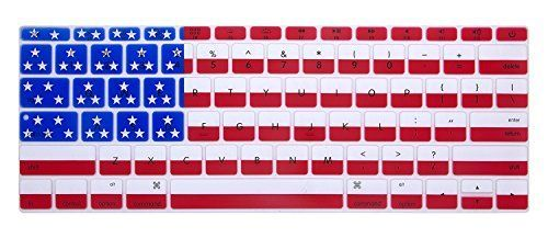 HRH Keyboard Cover Silicone Skin for New MacBook Pro 13 Inch A1708 (No TouchBar) Release 2016 and MacBook 12 Inch A1534 with Retina Display (2015 Version )USA Keyboard Layout- American Flag