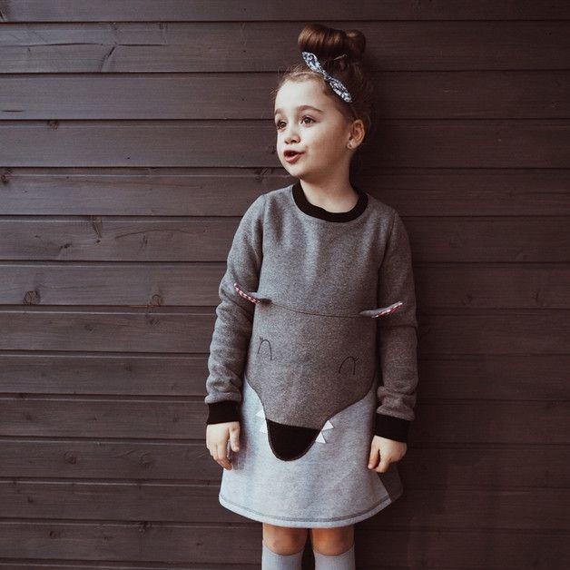 Sukienka dziecięca dresowa Wilk - Lady-Stump - Bluzy z kapturem dla dzieci