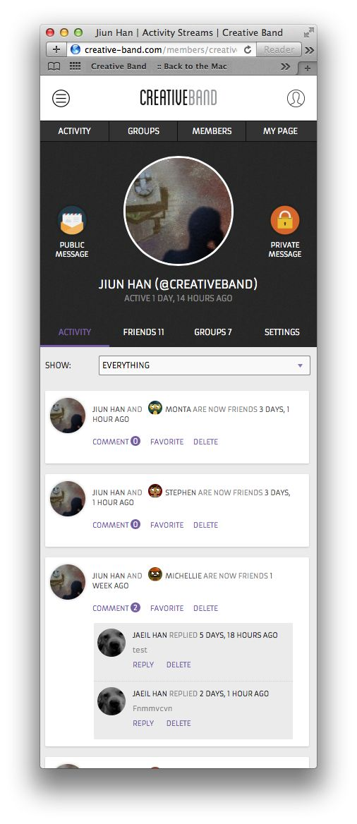 BuddyPress Theme - CB2014  Other's Profile Page with Custom Private & Public Message Buttons