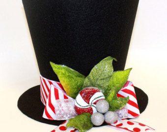 Sombrero de Navidad, bastón de caramelo, topper árbol de Navidad, decoración de la mesa de Navidad