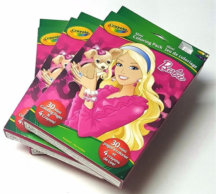 Lot of 3 - Crayola Barbie Mini Coloring Pack - 30 Mini Pages and 4 Crayons!   | eBay