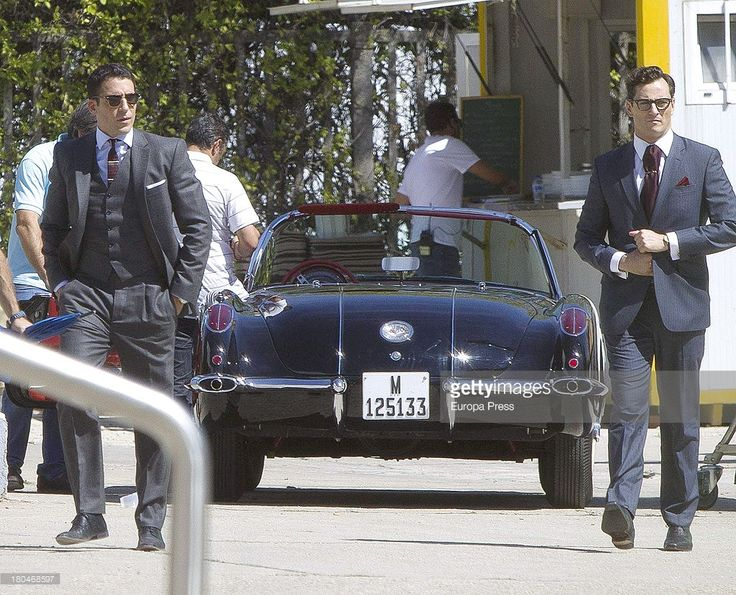 Miguel Angel Silvestre (L) is seen on set filming 'Galerias Velvet' on September 10, 2013 in Madrid, Spain.
