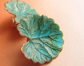 Grünspan-Ohrringe Ohrringe aus Metall Ohrringe Blumen von Mocahete