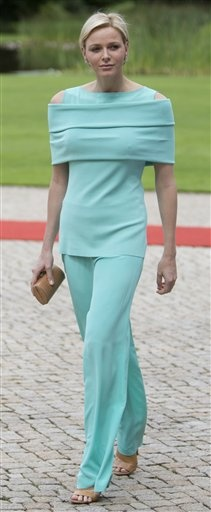 Princess Charlene of Monaco walks through the garden of Bellevue Palace in Berlin, Germany, Monday, July 9, 2012.