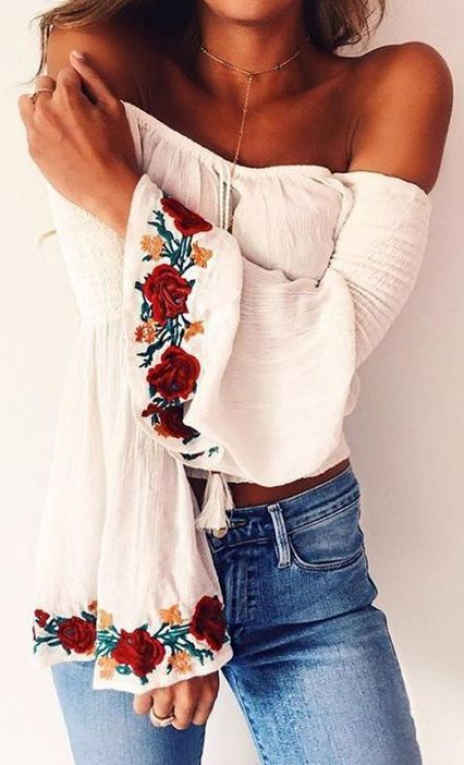 #summer #outfits / Off The Shoulder Embroidered Blouse + Jeans