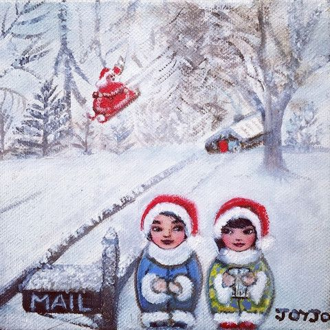 Mei+Kenji White Christmas with Santa Artprint