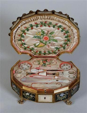 A fine French Palais Royal sewing box with a full complement of tools
