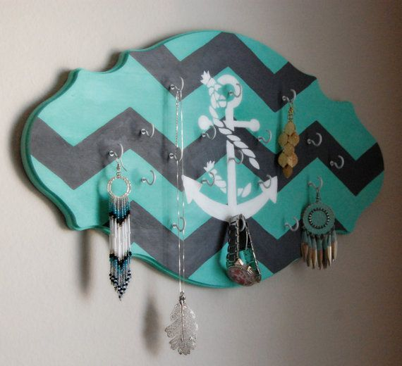 Aqua Gray Chevron Anchor Hand Painted Wall by thecraftingcottage, $46.00