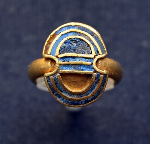 Minoan ring in the shape of a shield from the treasure of Aegina 1850-1550 BC. British Museum.