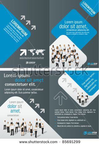 stock vector : Gray and Blue template for advertising brochure with business people