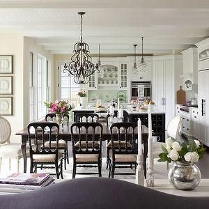 Martha OHara Interiors  dining rooms  iron chandeliers, dining room chandeliers, black and