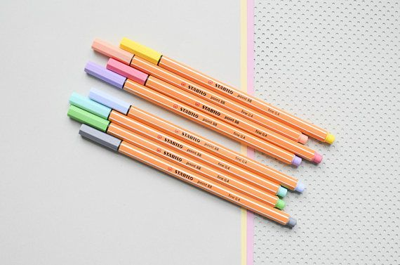 8 Fineliners / pastel pens from Stabilo THE German design classic by Stabilo: th…