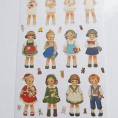 1 planche de stickers / autocollants petites filles rétro