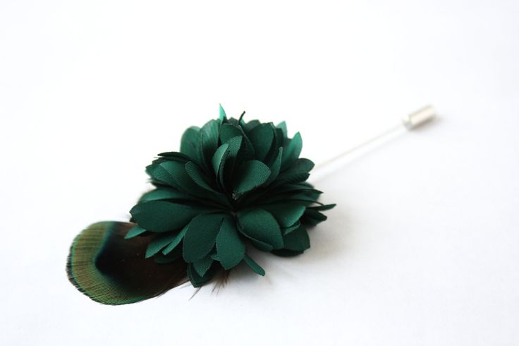 Flower and Feather Lapel Pin - Wedding Boutonniere - Emerald green Dahlia Flower and Peacock feather - Dapper Men Wedding Groom by TheGreyDeer on Etsy