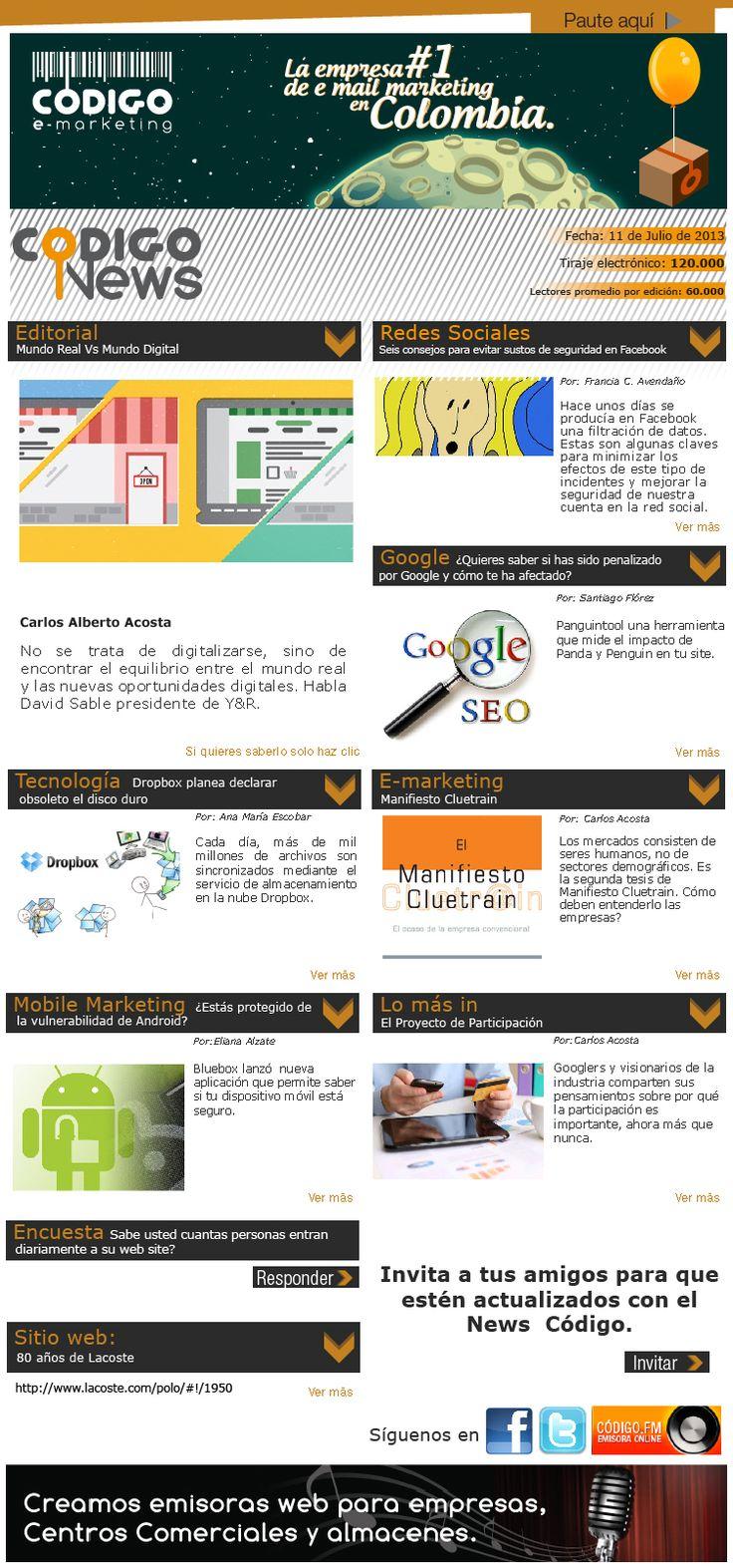 Edición #69 nuestro news tiene lo último en e-mailing, redes, mobile marketing y tecnología.  http://www.codigoe-marketing.com/news/web/