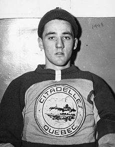 Joseph Jacques Omer Plante (January 17, 1929– February 27, 1986) was a Canadian professional ice hockey goaltender. During a career lasting from 1947–1975, he was considered to be one of the most important innovators in hockey. He played for the Montreal Canadiens from 1953 to 1963; during his tenure, the team won the Stanley Cup six times, including five consecutive wins.