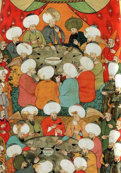 """1555'te İstanbul'a gelen Avusturya elçisi Ogier Ghiselin de Busbecq """"Türkiye'yi Böyle Gördüm"""" adıyla yayınlanan hatıralarında Müslüman Türk milletinin gıda konusundaki hassasiyetini şu cümlelerle anlatır: """"Türkler obur değillerdir. Gayet az yerler, bir parça ekmekle beraber tuz, soğan ve yoğurt bulurlarsa yemek için başka bir şey aramazlar."""""""