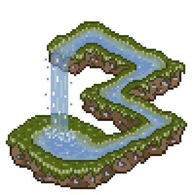 pixel art Escher's waterfall Water Escher Waterfall Effects Perspective by joseki piq