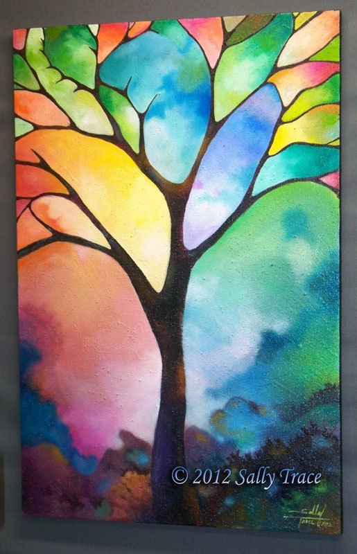 "Tree of Life Art, Giclee Print on Stretched Canvas from my Original Painting ""Tree of Light"", Stained Glass Trees, Geometric Landscape"