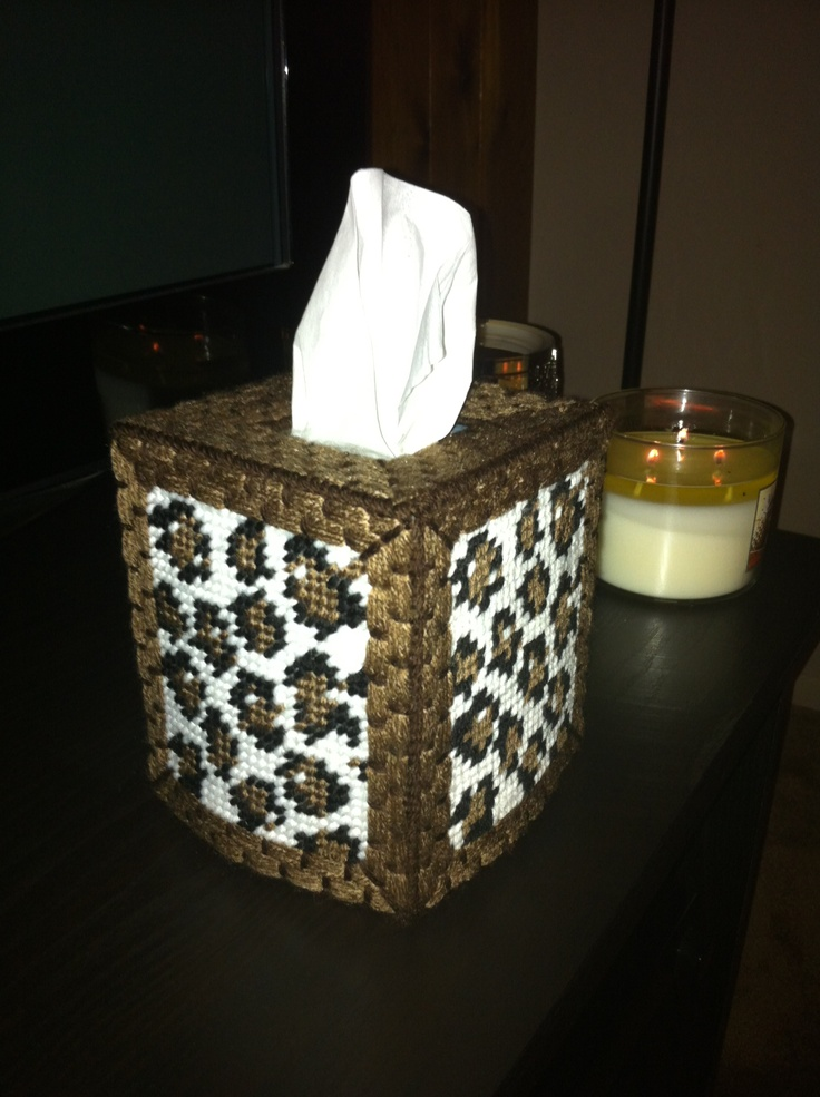 Leopard print plastic canvas tissue box | My creations! My ...