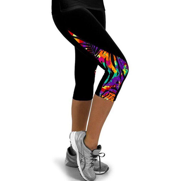 Collant da corsa Femminile Leggings Stampati per le Donne Sportswear Velluto Leggins 3/4 Sport Fitness Pantaloni Da Trekking Pantaloni