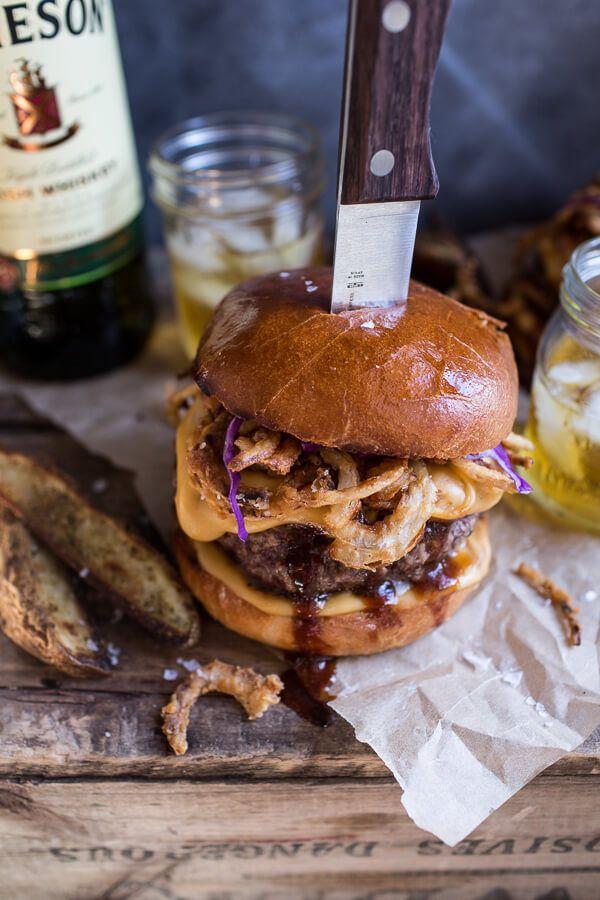 Jameson Whiskey Blue Cheese Burger w/ Guinness Cheese Sauce + Crispy Onion