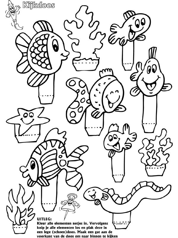 Vissen - Kijkdoos - Knutselpagina.nl - knutselen, knutselen en nog eens knutselen.