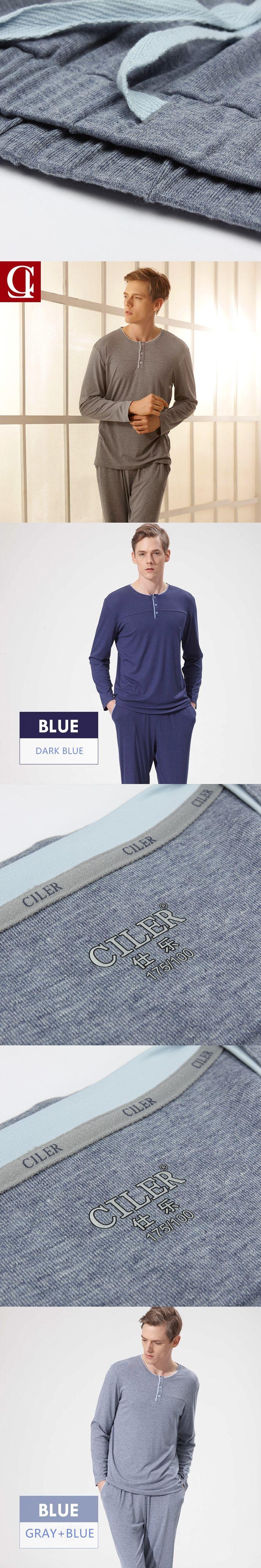 CILER 2017 Men Long Sleeve 66% Viscose Pajamas Set Casual Button sleepwear tshirt pants Suit Male Big Size Lingerie pijama homme