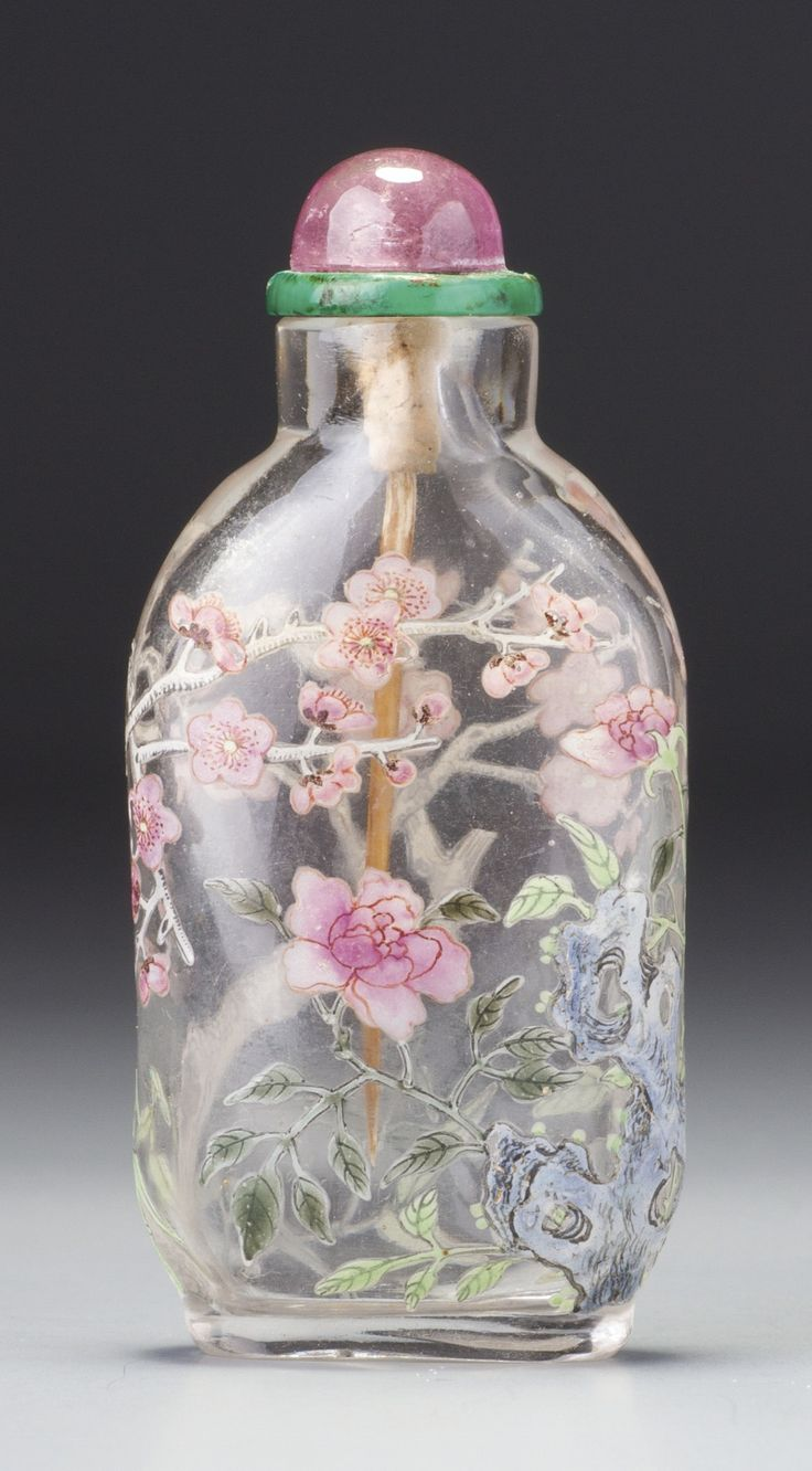 AN IMPERIAL ENAMELLED GLASS 'PRUNUS, BAMBOO AND ROSE' SNUFF BOTTLE. 3. 3/8 inches PALACE WORKSHOPS, QING DYNASTY,  | lot | Sotheby's